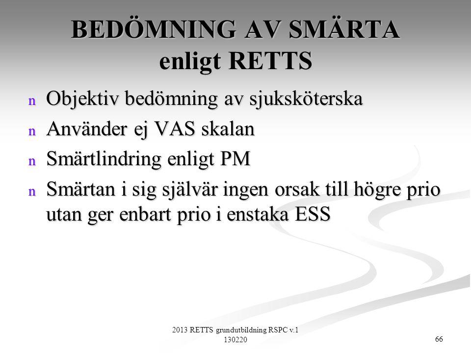 BEDÖMNING AV SMÄRTA enligt RETTS