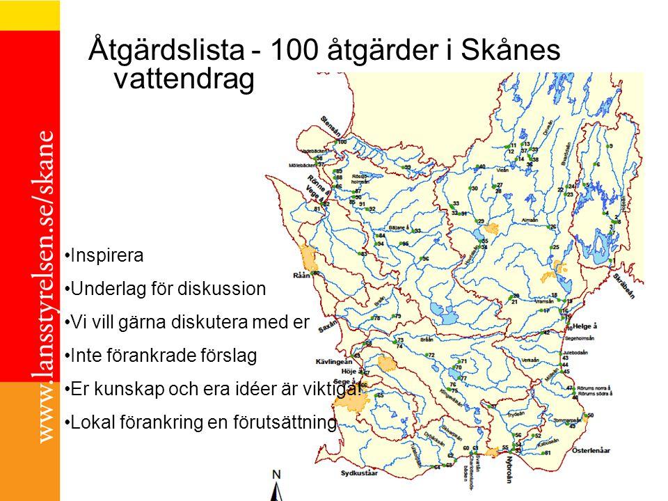 Åtgärdslista - 100 åtgärder i Skånes vattendrag