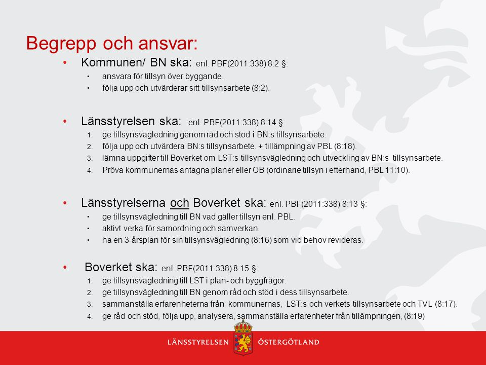 Begrepp och ansvar: Kommunen/ BN ska: enl. PBF(2011:338) 8:2 §: