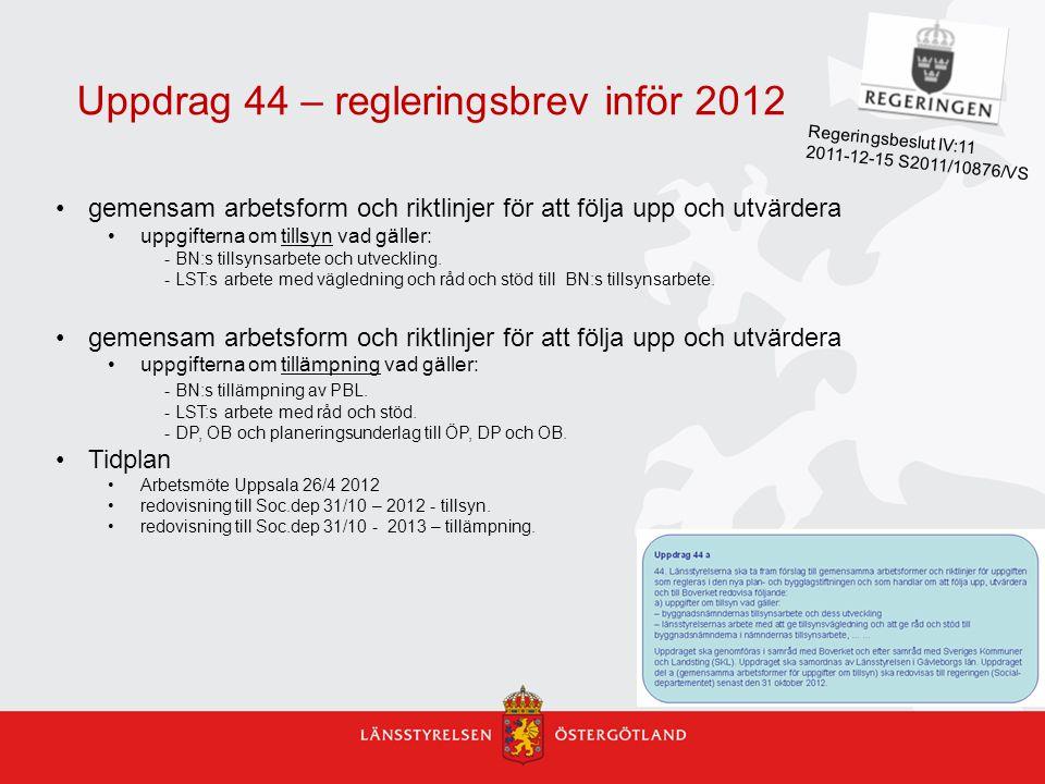 Uppdrag 44 – regleringsbrev inför 2012