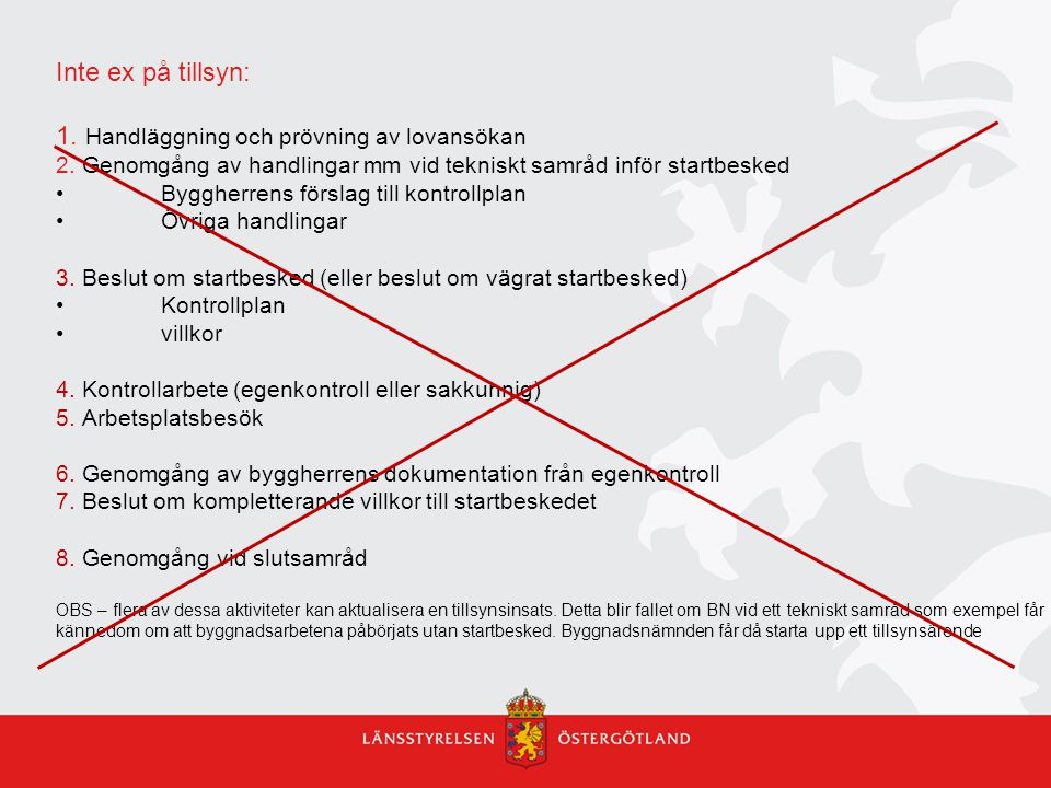 Inte ex på tillsyn: 1. Handläggning och prövning av lovansökan 2