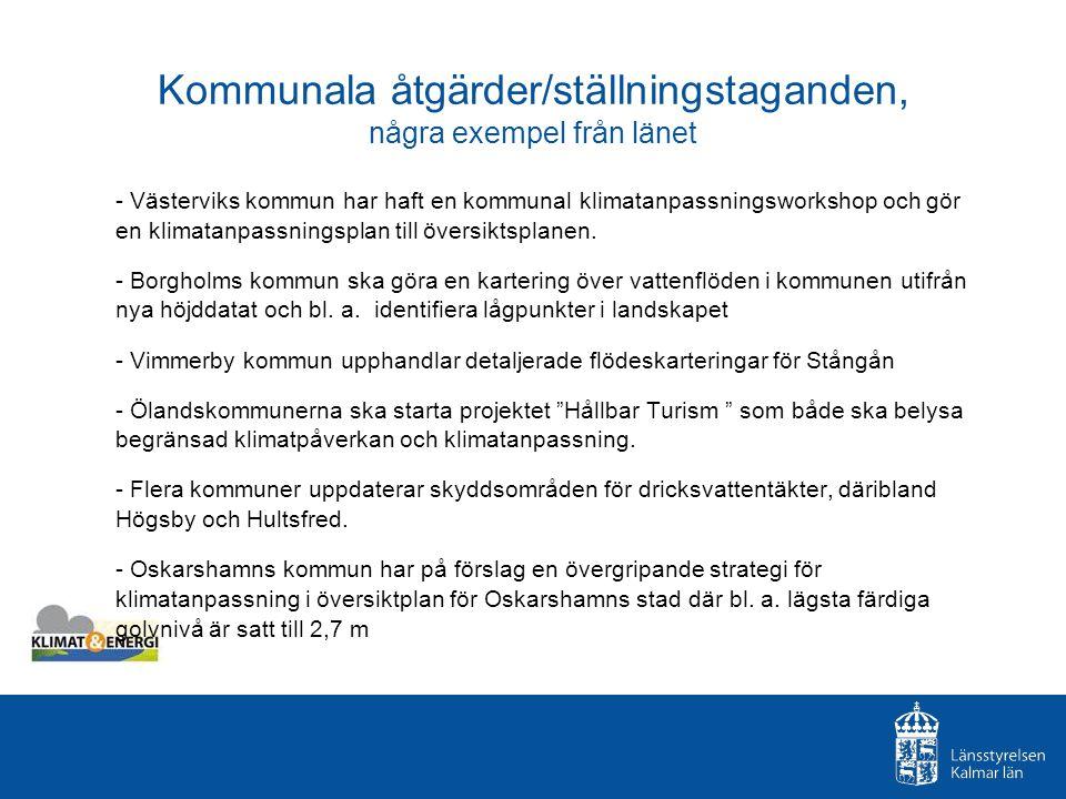 Kommunala åtgärder/ställningstaganden, några exempel från länet