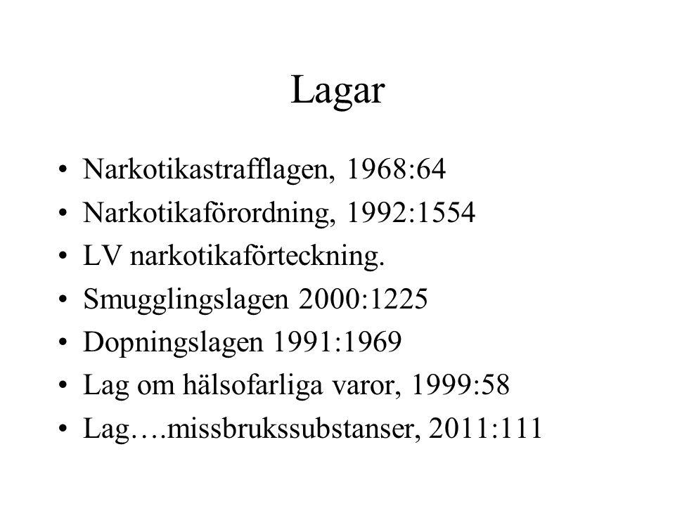 Lagar Narkotikastrafflagen, 1968:64 Narkotikaförordning, 1992:1554