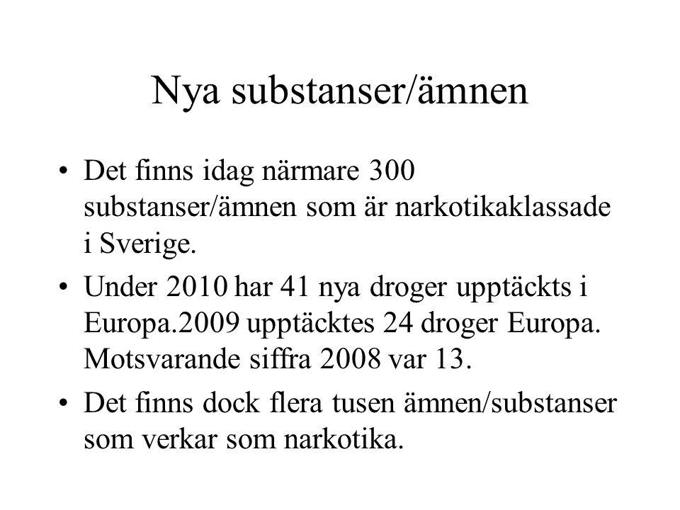 Nya substanser/ämnen Det finns idag närmare 300 substanser/ämnen som är narkotikaklassade i Sverige.