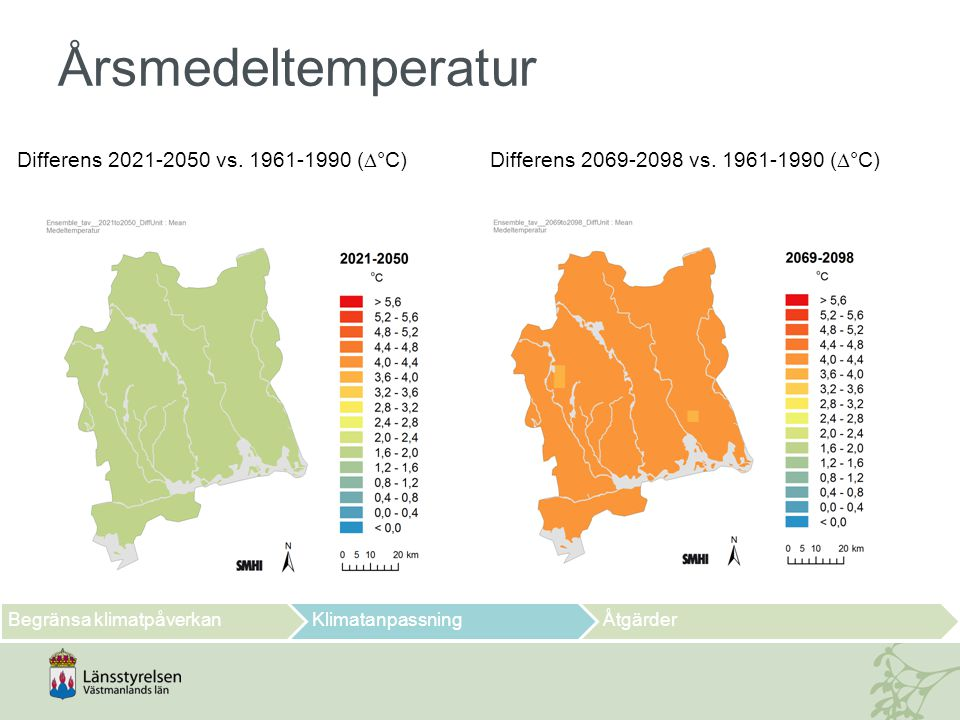 Årsmedeltemperatur Differens 2021-2050 vs. 1961-1990 (°C)