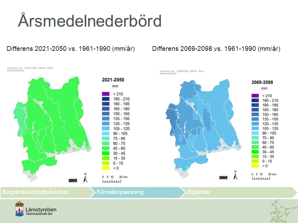 Årsmedelnederbörd Differens 2021-2050 vs. 1961-1990 (mm/år)
