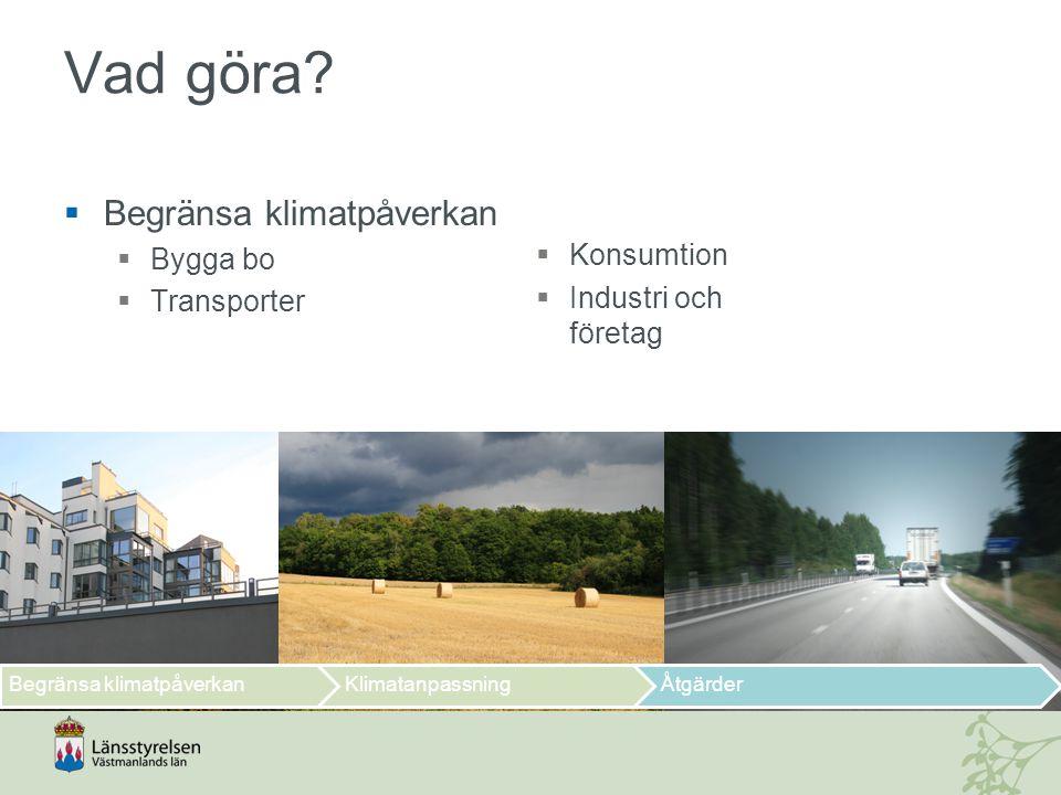 Vad göra Begränsa klimatpåverkan Bygga bo Transporter Konsumtion