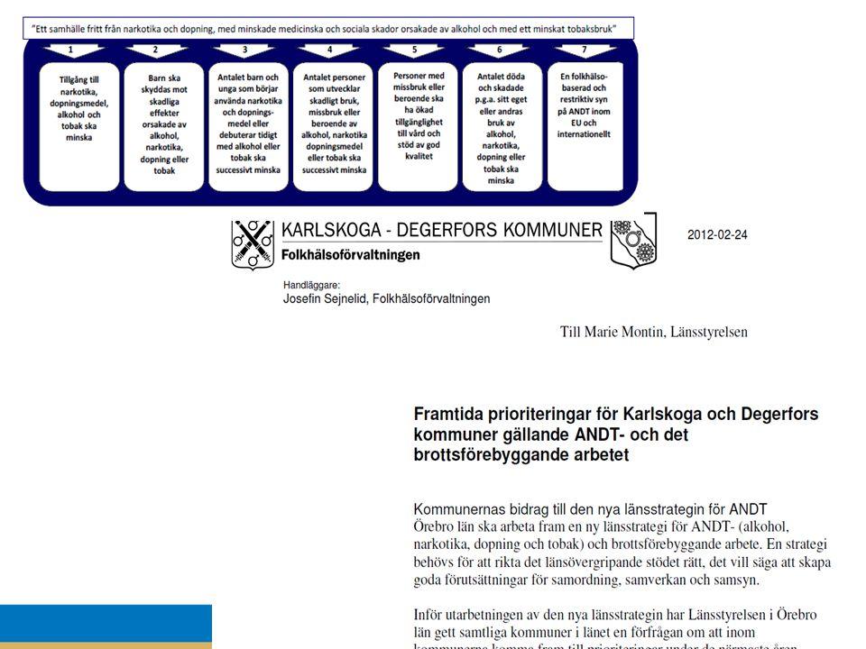 Örebro län ska arbeta fram en ny länsstrategi för ANDT- (alkohol, narkotika, dopning och tobak) och brottsförebyggande arbete. En strategi behövs för att rikta det länsövergripande stödet rätt, det vill säga att skapa goda förutsättningar för samordning, samverkan och samsyn. Inför utarbetningen av den nya länsstrategin har Länsstyrelsen i Örebro län gett samtliga kommuner i länet en förfrågan om att inom kommunerna komma fram till prioriteringar under de närmaste åren