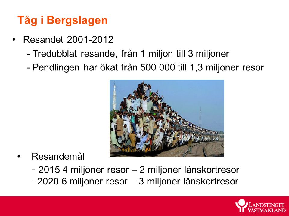 Tåg i Bergslagen Resandet 2001-2012