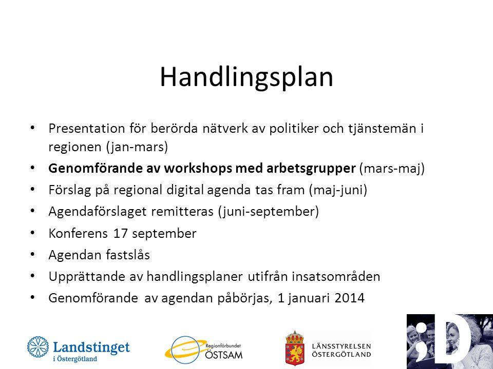 Handlingsplan Presentation för berörda nätverk av politiker och tjänstemän i regionen (jan-mars)