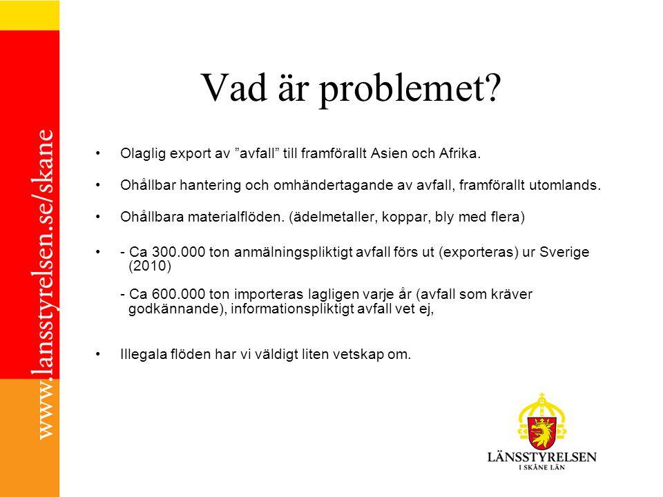 Vad är problemet Olaglig export av avfall till framförallt Asien och Afrika.