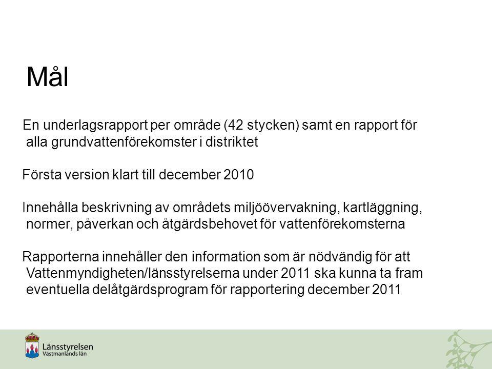 Mål En underlagsrapport per område (42 stycken) samt en rapport för