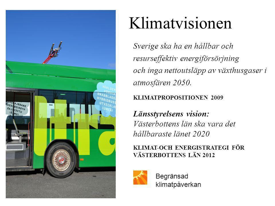 Klimatvisionen Sverige ska ha en hållbar och resurseffektiv energiförsörjning och inga nettoutsläpp av växthusgaser i atmosfären 2050.
