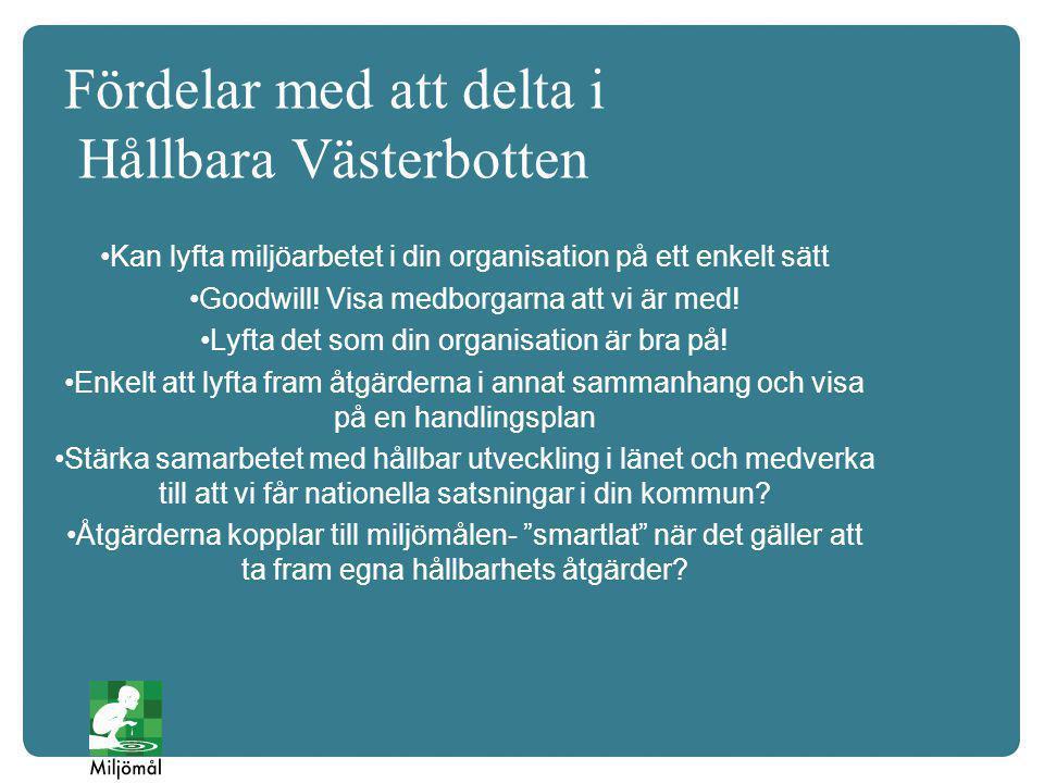 Fördelar med att delta i Hållbara Västerbotten