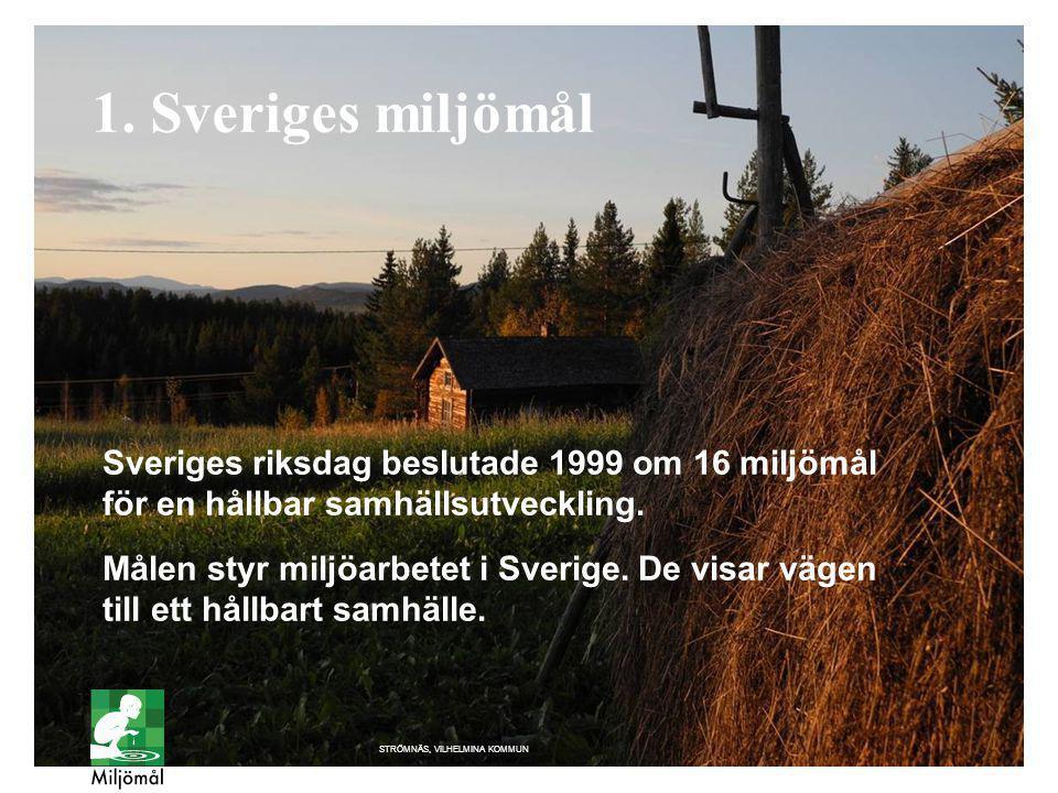 1. Sveriges miljömål Sveriges riksdag beslutade 1999 om 16 miljömål för en hållbar samhällsutveckling.
