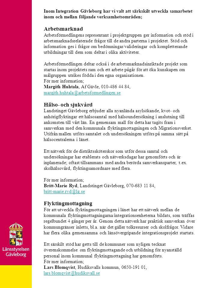 Arbetsmarknad Hälso- och sjukvård Flyktingmottagning