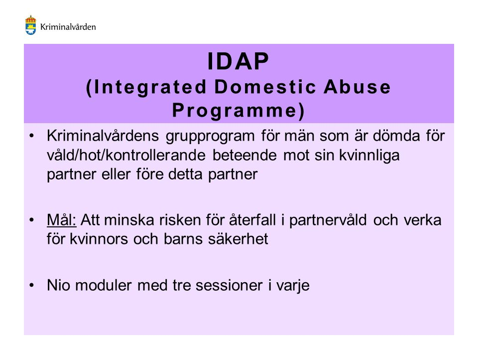 IDAP (Integrated Domestic Abuse Programme)