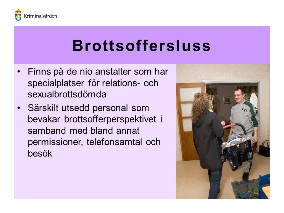 Brottsoffersluss Finns på de nio anstalter som har specialplatser för relations- och sexualbrottsdömda.