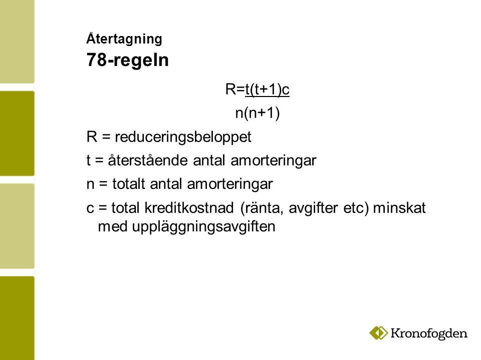 R = reduceringsbeloppet t = återstående antal amorteringar