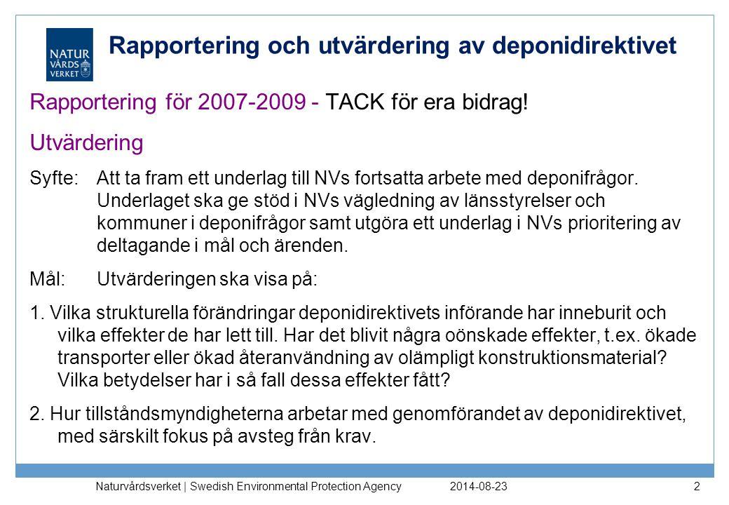 Rapportering och utvärdering av deponidirektivet