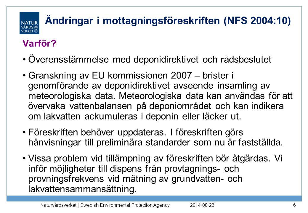 Ändringar i mottagningsföreskriften (NFS 2004:10)