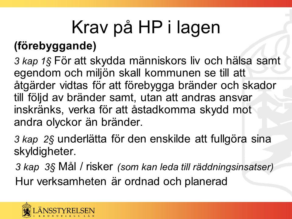 Krav på HP i lagen (förebyggande)