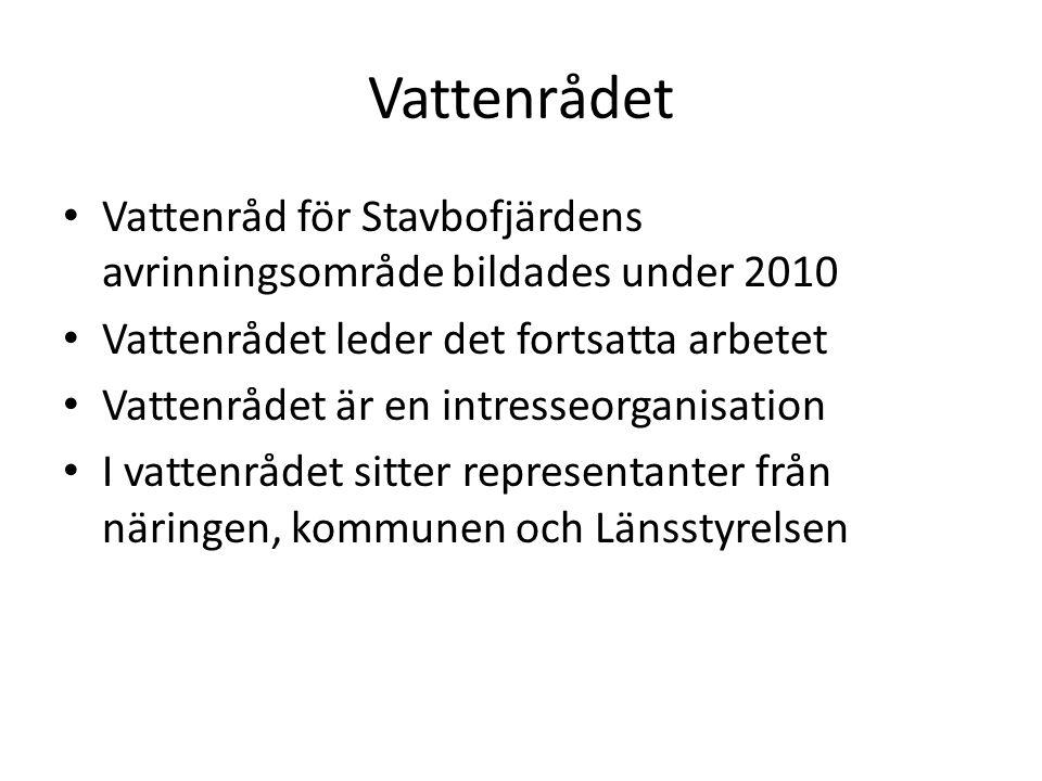 Vattenrådet Vattenråd för Stavbofjärdens avrinningsområde bildades under 2010. Vattenrådet leder det fortsatta arbetet.