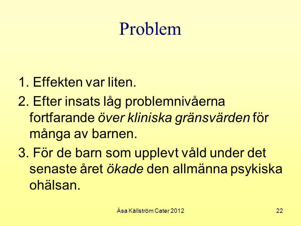 Problem 1. Effekten var liten.