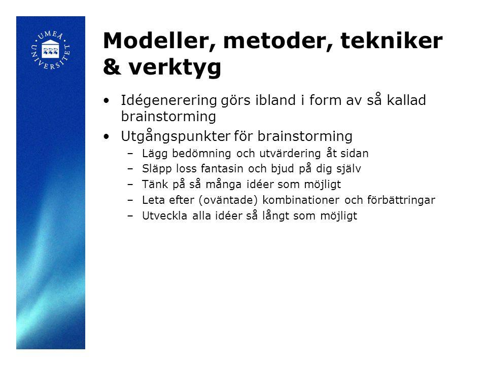 Modeller, metoder, tekniker & verktyg