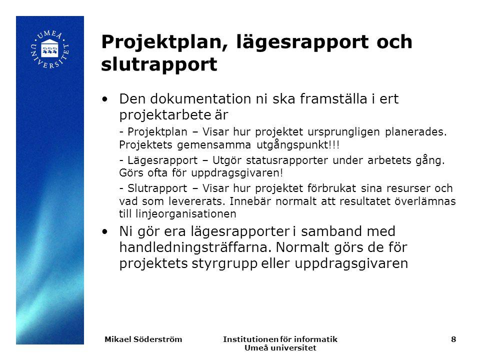 Projektplan, lägesrapport och slutrapport