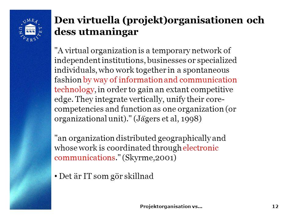 Den virtuella (projekt)organisationen och dess utmaningar