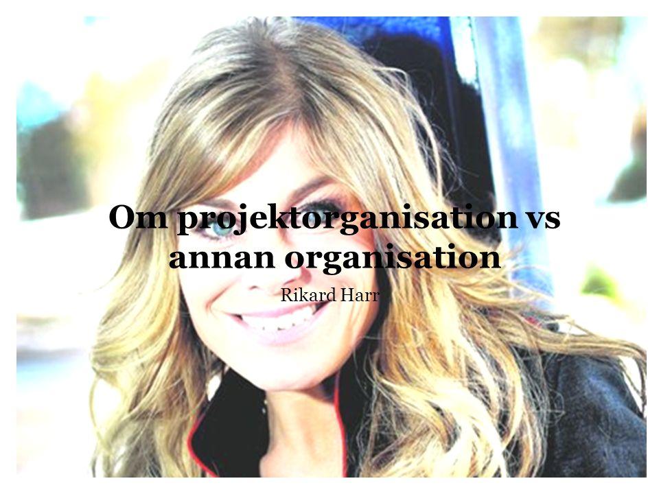 Om projektorganisation vs annan organisation