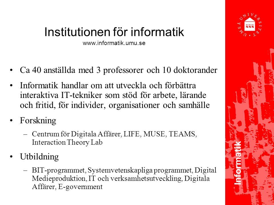 Institutionen för informatik www.informatik.umu.se
