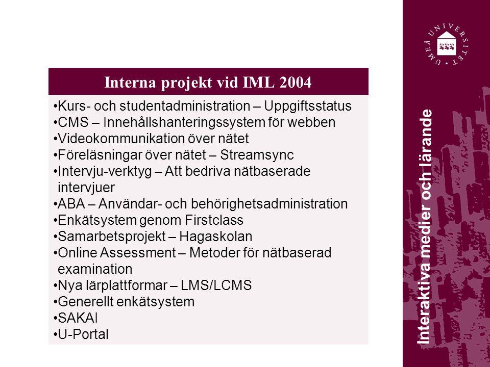 Interna projekt vid IML 2004