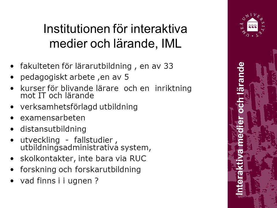 Institutionen för interaktiva medier och lärande, IML