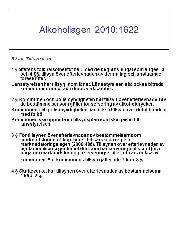 Alkohollagen 2010:1622 9 kap. Tillsyn m.m.