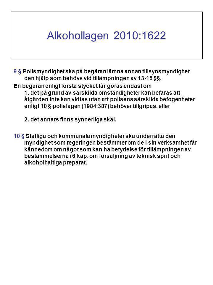 Alkohollagen 2010:1622 9 § Polismyndighet ska på begäran lämna annan tillsynsmyndighet den hjälp som behövs vid tillämpningen av 13-15 §§.