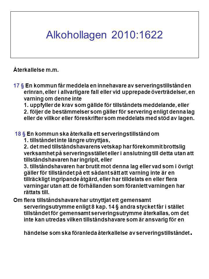 Alkohollagen 2010:1622 Återkallelse m.m.