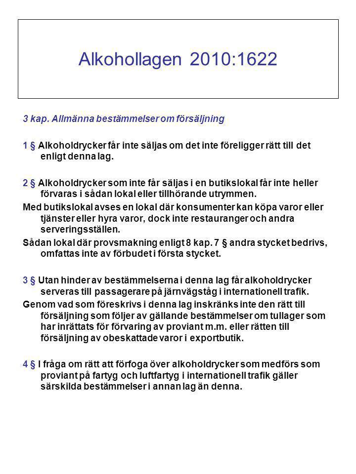 Alkohollagen 2010:1622 3 kap. Allmänna bestämmelser om försäljning