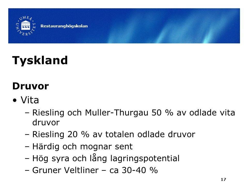 Restauranghögskolan Tyskland. Druvor. Vita. Riesling och Muller-Thurgau 50 % av odlade vita druvor.