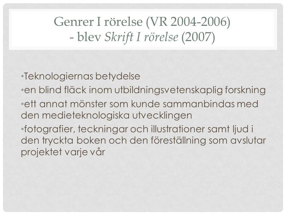 Genrer I rörelse (VR 2004-2006) - blev Skrift I rörelse (2007)