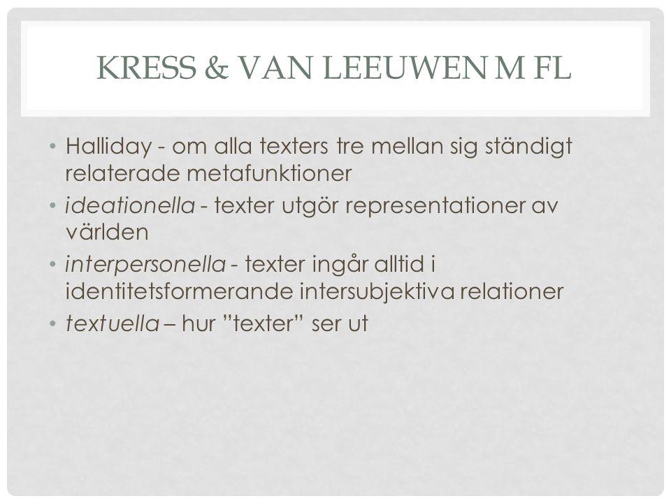 Kress & van Leeuwen m fl Halliday - om alla texters tre mellan sig ständigt relaterade metafunktioner.