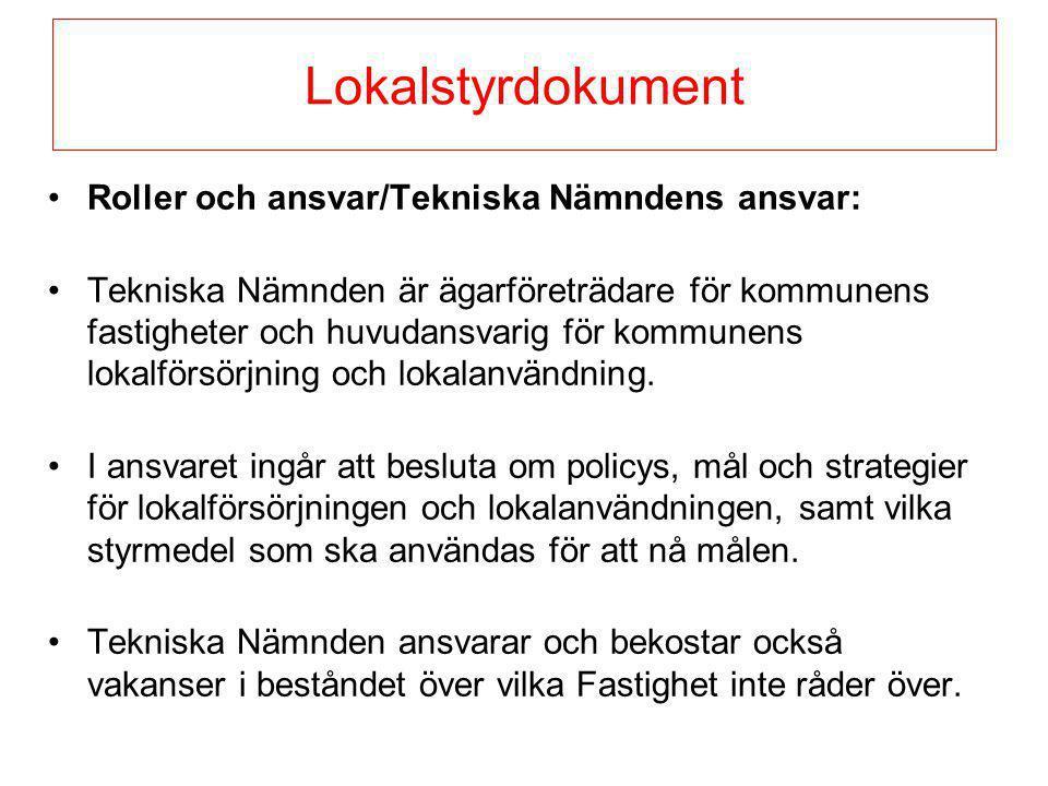 Lokalstyrdokument Roller och ansvar/Tekniska Nämndens ansvar: