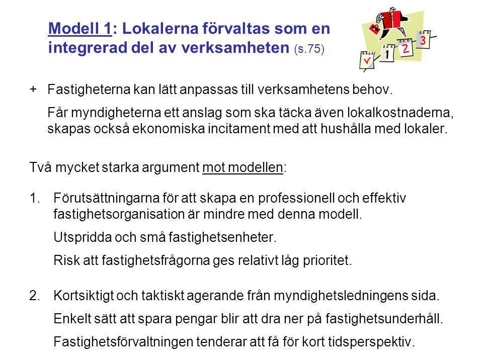 Modell 1: Lokalerna förvaltas som en integrerad del av verksamheten (s