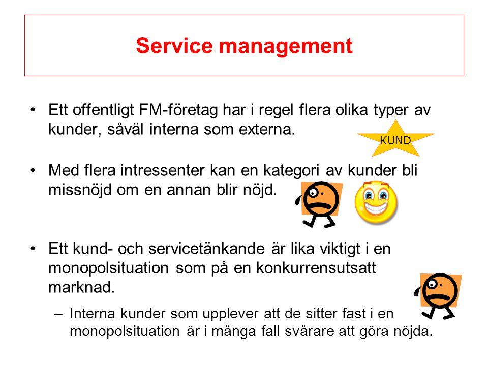 Service management Ett offentligt FM-företag har i regel flera olika typer av kunder, såväl interna som externa.