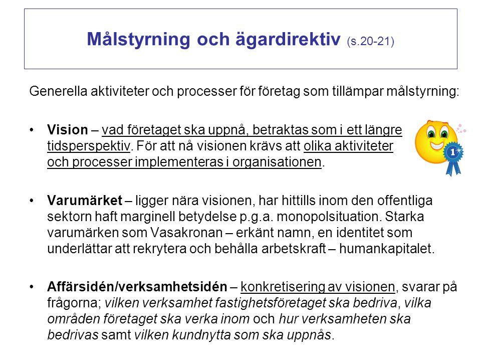 Målstyrning och ägardirektiv (s.20-21)