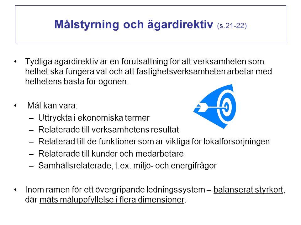 Målstyrning och ägardirektiv (s.21-22)