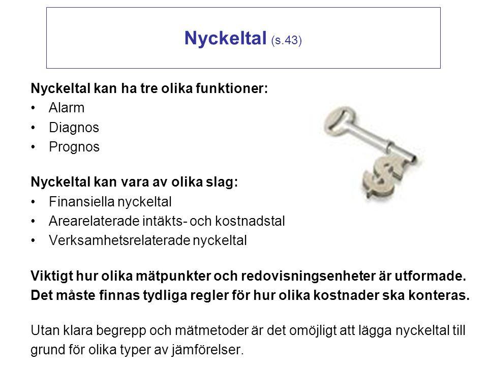 Nyckeltal (s.43) Nyckeltal kan ha tre olika funktioner: Alarm Diagnos