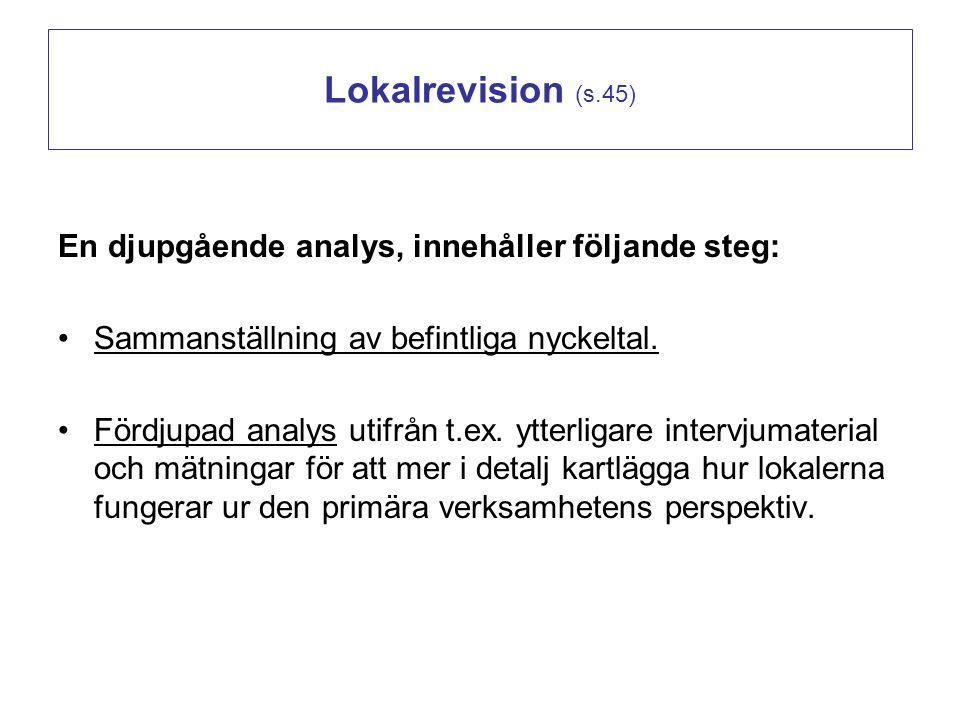 Lokalrevision (s.45) En djupgående analys, innehåller följande steg:
