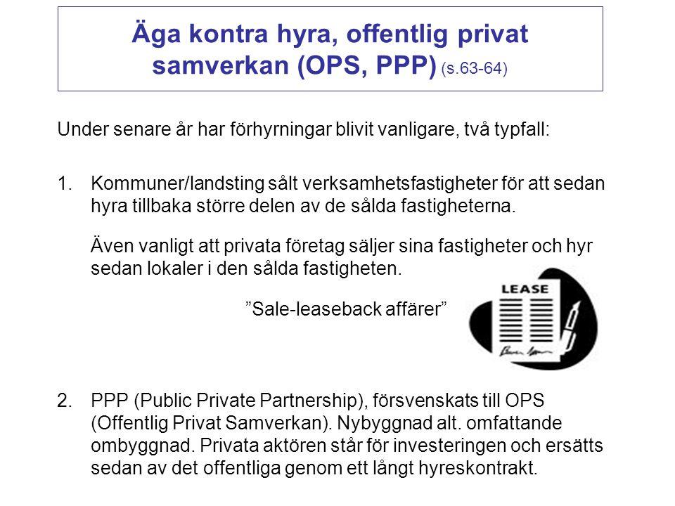 Äga kontra hyra, offentlig privat samverkan (OPS, PPP) (s.63-64)